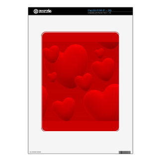 RED LAYERED 3D HEARTS LOVE MOTIVATIONAL SWEETHEART iPad DECAL