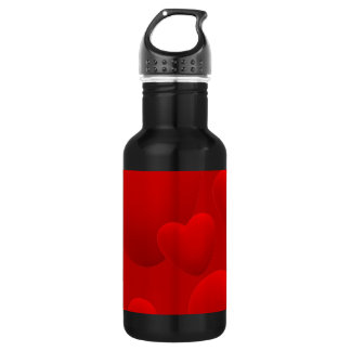 RED LAYERED 3D HEARTS LOVE MOTIVATIONAL SWEETHEART WATER BOTTLE