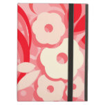 Red Leaf and Cream Flower Swirl iPad Cover