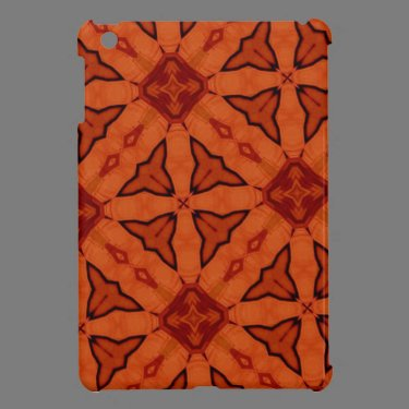 Red leaf and square pattern cover for the iPad mini