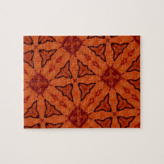 Red leaf and square pattern jigsaw puzzles