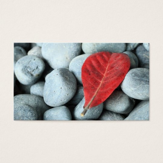 Red leaf and stones business card