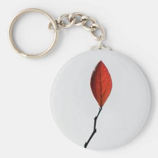 Red Leaf Basic Round Button Keychain