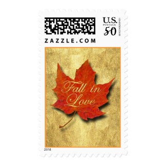 Red Leaf Fall in Love Postage