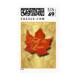 Red Leaf Fall in Love Postage Stamp