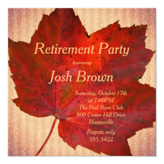Red Leaf Fall Retirement Party Invitation