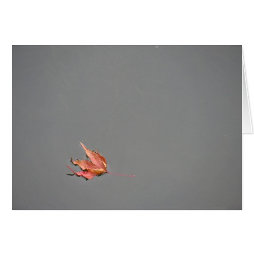 red leaf floating stationery note card