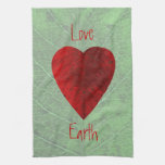 Red Leaf Heart Love Earth Kitchen Towel
