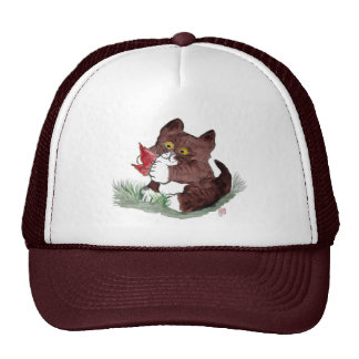 Red Leaf I Gotcha, says Kitten.    Sumi-e Hats