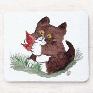 Red Leaf I Gotcha, says Kitten.    Sumi-e Mouse Pad