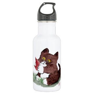 Red Leaf I Gotcha, says Kitten.    Sumi-e Stainless Steel Water Bottle