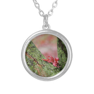 Red Leaf in Balance Round Pendant Necklace