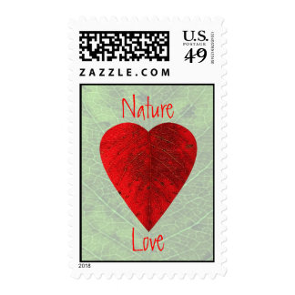 Red Leaf Love Nature Postage Stamps