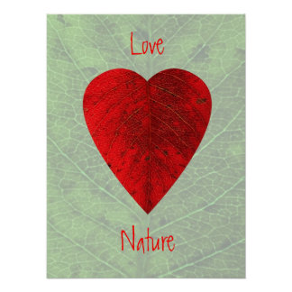 Red Leaf Love Nature Poster Print