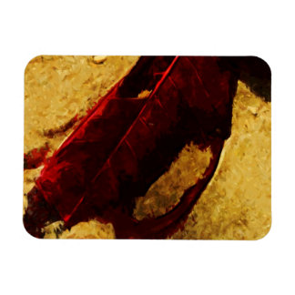 Red Leaf on Beach Abstract Impressionism Magnet