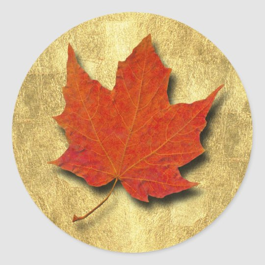 Red Leaf on Gold Classic Round Sticker