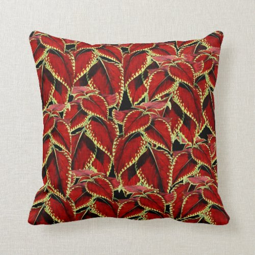 Red Leaf Pattern On Black Throw Pillow