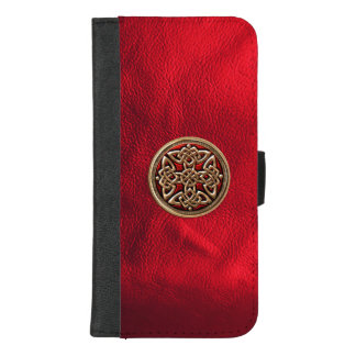 Red Leather and Celtic Knot iPhone Wallet Case