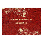 Red Leather and Lace RSVP with envelopes Invitations