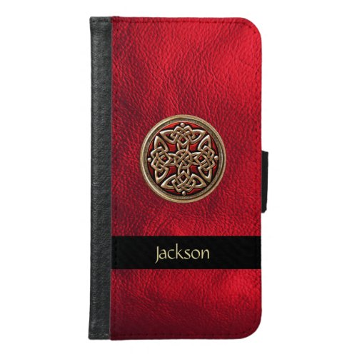 Red Leather Celtic Knot Galaxy S6 Wallet Case