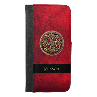 Red Leather Celtic Knot iPhone 6 Plus Wallet Case