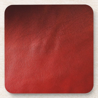 Red leather design drink coaster