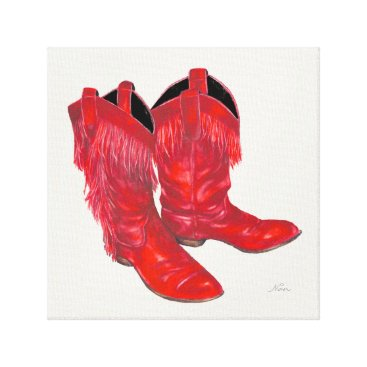Beach Themed Red Leather Fringed Cowboy Boots Canvas Print