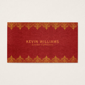 Red Leather & Gold Border Swirls Business Card