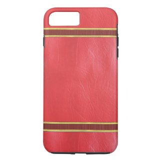 Red Leather Gold Trim Texture Case
