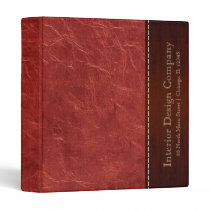Red leather look 3 ring binder