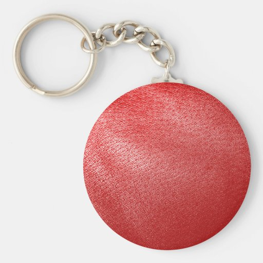 Red Leather Look Basic Round Button Keychain