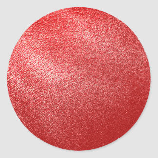 Red Leather Look Classic Round Sticker