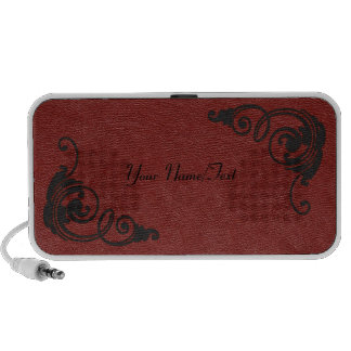 Red Leather Look Image with Black Tool Scrolls Mp3 Speakers
