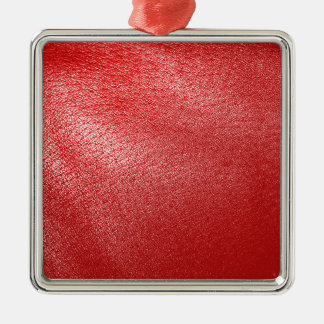Red Leather Look Metal Ornament