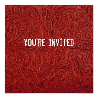 Red Leather Look Patriotic Invitation