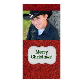 Red Leather Look Photo Christmas Card