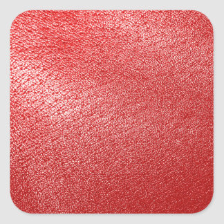 Red Leather Look Square Sticker