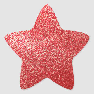 Red Leather Look Star Sticker