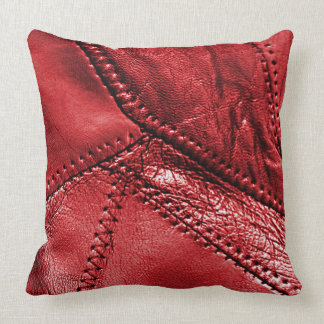 Red leather look, throw pillow
