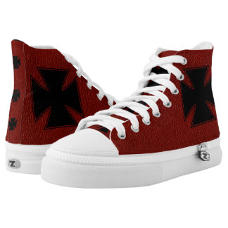 Red Leather & Maltese Cross Printed Shoes