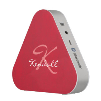 Red Leather Monogram Bluetooth Speaker