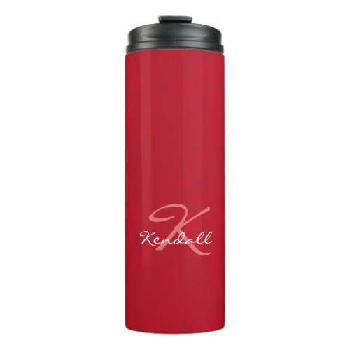 Red Leather Monogram Thermal Tumbler