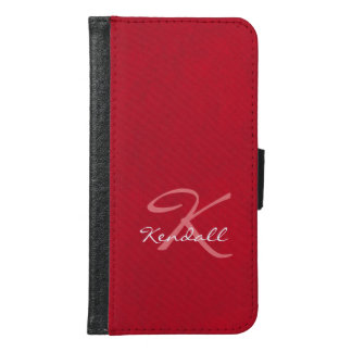 Red Leather Monogram Wallet Phone Case For Samsung Galaxy S6
