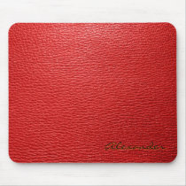 Red Leather Pattern look- Custom Monogram Mouse Pad