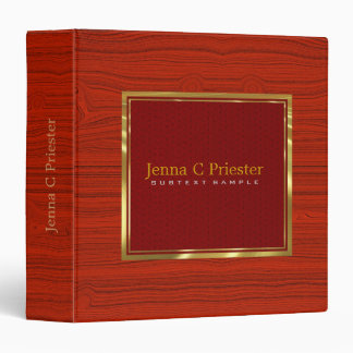 Red Leather Red Wood Touch Of Metallic Gold. 3 Ring Binder