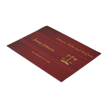 Lawyer Themed Red Leather Scale of Justice | Lawyer Doormat