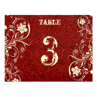 Red Leather Table Number Card (Cream, flat)