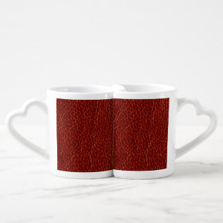 Red Leather Texture Couples Mug