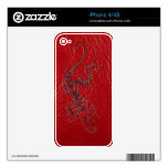 Red Leather Tiger Decal For The iPhone 4