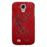 Red Leather Tiger Galaxy S4 Cover